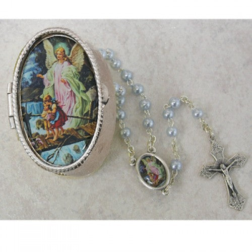 Guardian Angel Rosary & Box Set in Blue