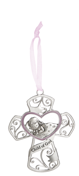 Child of God Cross Crib Medal for Girls - Catholic Gifts Canada