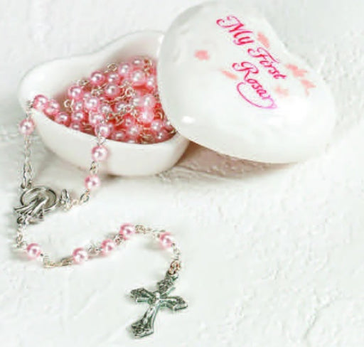 Porcelain Heart Box with Pink Rosary