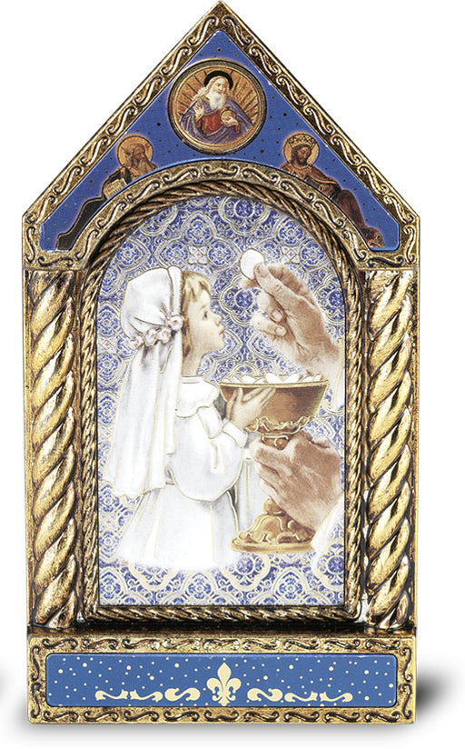 Gold-Embossed Communion Girl Icon