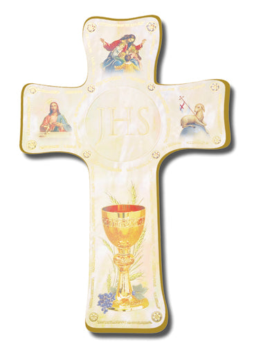 Pearlized Communion Keepsake Cross