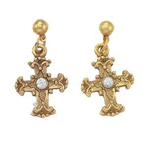 Vatican Collection Gold Cross Earrings