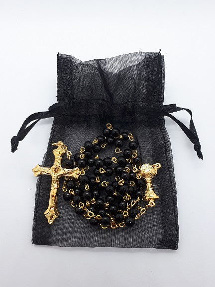 Gold & Black Bead Rosary