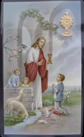 Prayer Card with Monstrance Medal - Boy