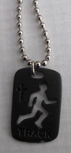 Track Medal Pendant in Black - Catholic Gifts Canada