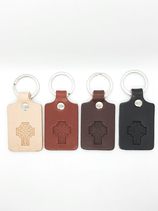 Handmade Leather Celtic Cross Keychain - Four Colours - Catholic Gifts Canada