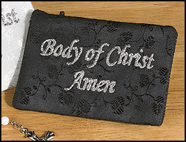 Satin Brocade Rosary Case - Black