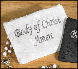 Satin Brocade Rosary Case - White