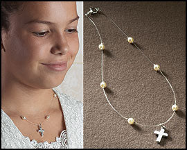 Illusion Pearl Necklace with Cross