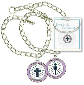 Communion Bracelet with Round Charm