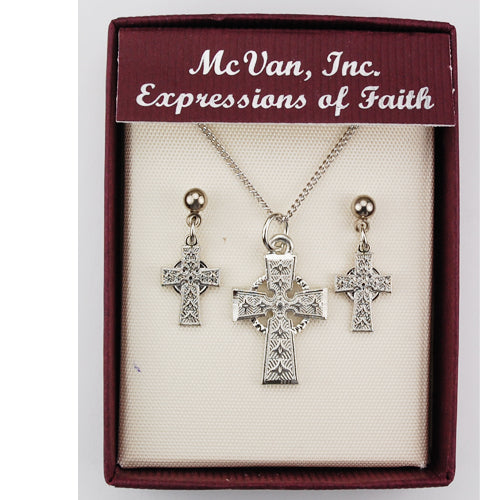 Celtic Cross Pendant & Earring Set