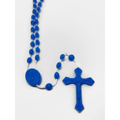 Light Blue Plastic Rosary - Catholic Gifts Canada
