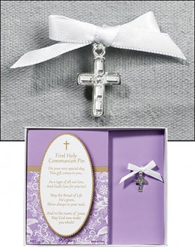 Rhinestone Cross First Communion Pin