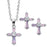Pink Cross Pendant & Earrings Set