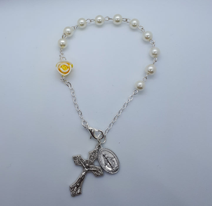 Yellow Rose & Pearl Rosary Bracelet - Catholic Gifts Canada