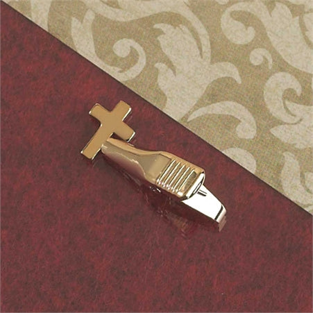 Gold-Plated Tie Clip with Cross