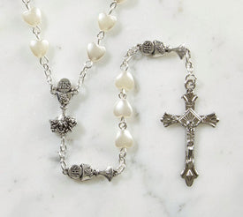 Communion Rosary with Heart Beads