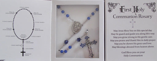 Blue Communion Rosary w/Presentation Box
