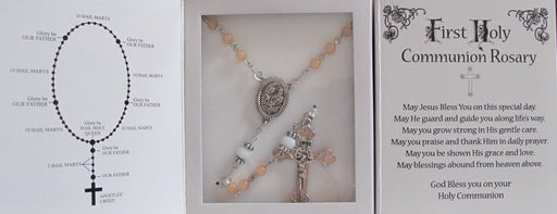 Peach-Pink Rosary w/Presentation Box