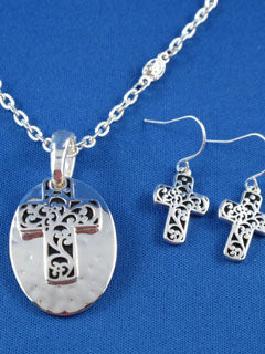 Silver Cross Pendant with FREE Earrings