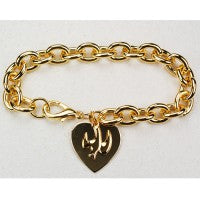 Gold Bracelet with Heart & Dove Charms
