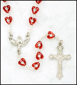 Confirmation Rosary with Heart Beads