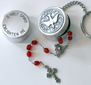 Holy Spirit Rosary Box Keychain
