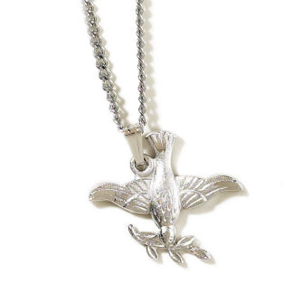 Dove with Olive Branch Pendant - Catholic Gifts Canada
