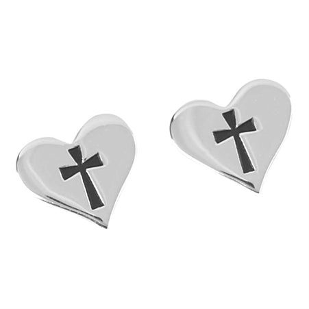 Heart with Cross Pierced Earrings - Catholic Gifts Canada