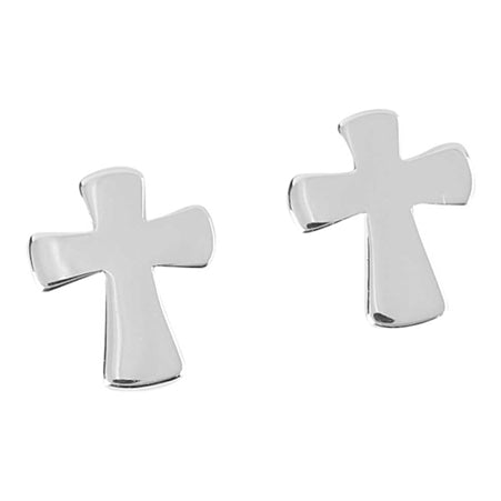 Flared Cross Earrings for Pierced Ears