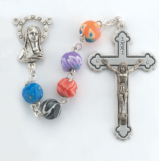Multi Colour Floral Rosary - Catholic Gifts Canada