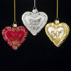 25th Anniversary Glass Heart Ornament - Catholic Gifts Canada