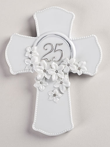 25th Wedding Anniversary Floral Cross