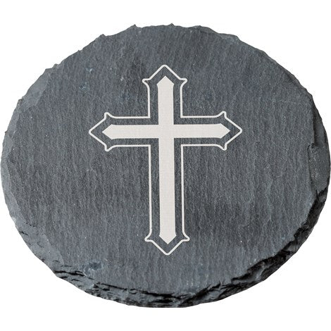 Round Slate Coasters with Cross Image