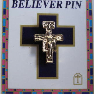 Gold San Damiano Cross Pin - Catholic Gifts Canada