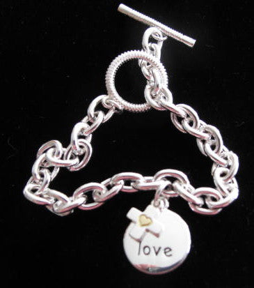 Disc & Cross Charm Bracelet - Love
