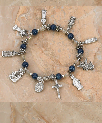 Blue Topaz Saints Stretch Bracelet