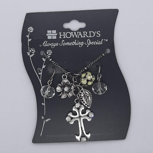 Cross Necklace & Earring Set - Clear - Catholic Gifts Canada