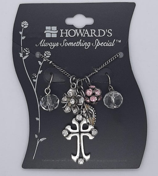 Cross Necklace & Earring Set - Pink - Catholic Gifts Canada