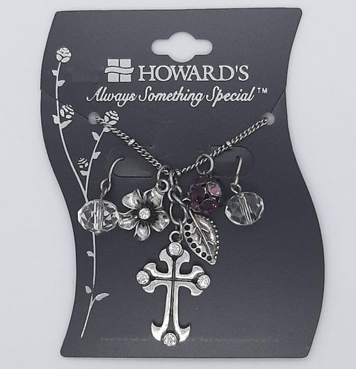 Cross Necklace & Earring Set - Purple - Catholic Gifts Canada