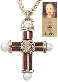 Ruby & Pearl Cross Necklace