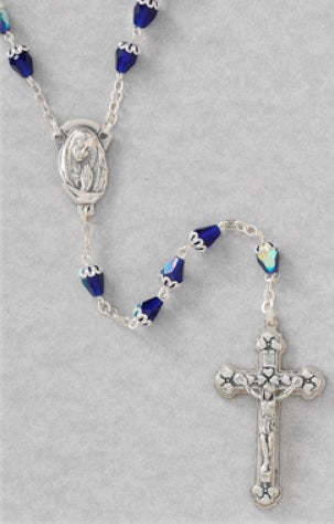 6mm Tear Drop Blue Bead Rosary