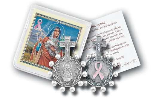 St. Agatha Pink Ribbon Rosary Ring Set