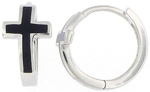 Sterling Hoop Earrings with Cross