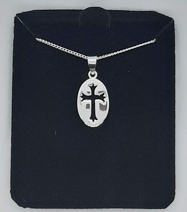 Oval Cut-Out Cross Necklace