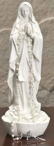 White Madonna Rosary Holder