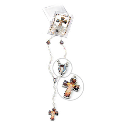Divine Mercy Crystal Bead Rosary