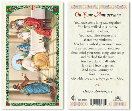 Laminated Wedding Anniversary Holy Card