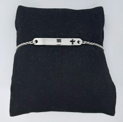 Bar Bracelet with Cross in Silver - Catholic Gifts Canada