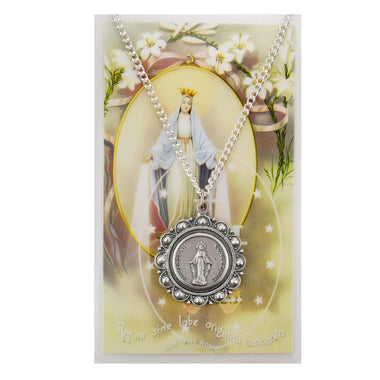 Miraculous Medal Pendant & Prayer Card
